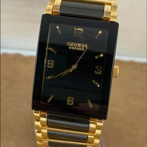 Gruen Swiss Black on Gold Man's Stainless Watch
